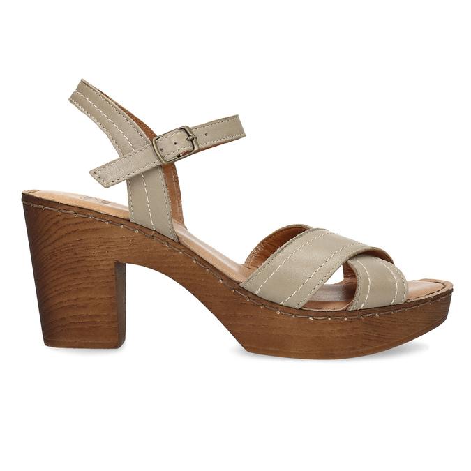 Kožené sandály na dřevěném podpatku béžové comfit, béžová, 666-8624 - 19