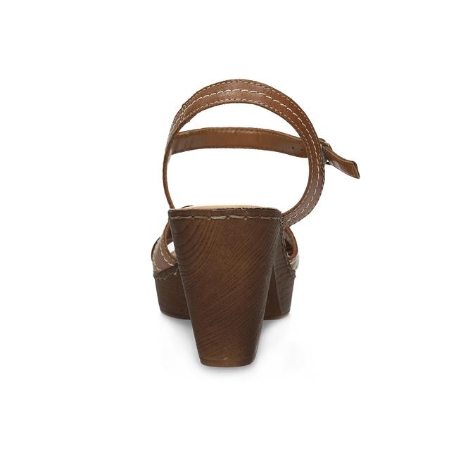 Hnědé kožené sandály na dřevěném podpatku comfit, hnědá, 666-4624 - 15