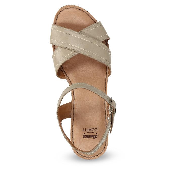 Kožené sandály na dřevěném podpatku béžové comfit, béžová, 666-8624 - 17