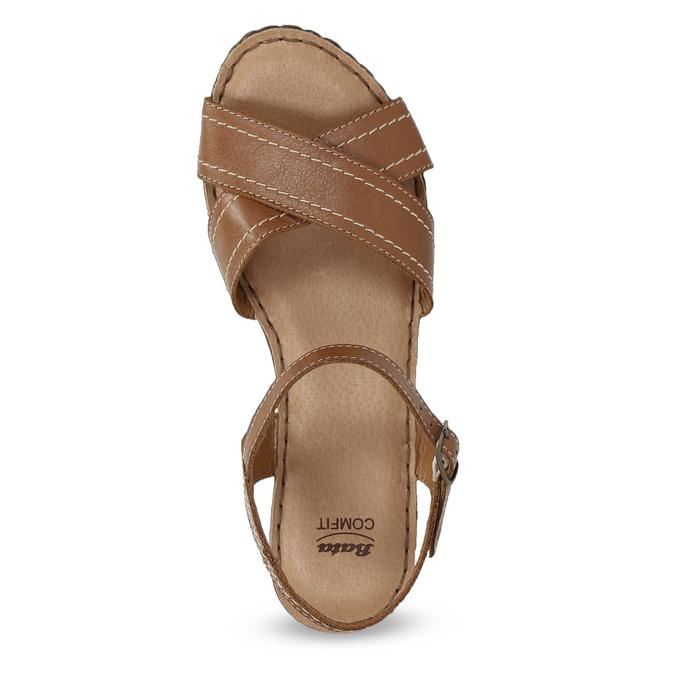 Hnědé kožené sandály na dřevěném podpatku comfit, hnědá, 666-4624 - 17