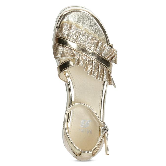 Zlaté dívčí sandály s volánem mini-b, zlatá, 361-8253 - 17