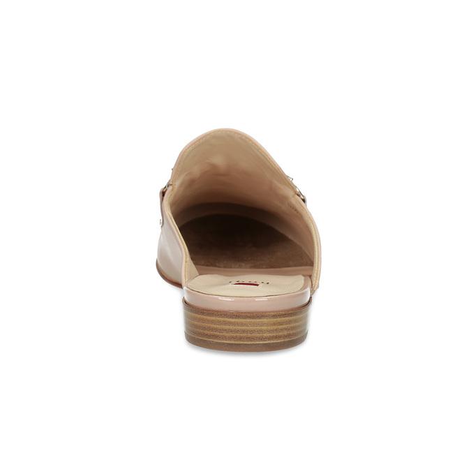 Kožené mokasíny s volnou patou a zlatou přezkou hogl, růžová, 516-8009 - 15