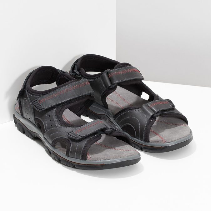 Pánské kožené sandály na suchý zip černé weinbrenner, černá, 866-6635 - 26