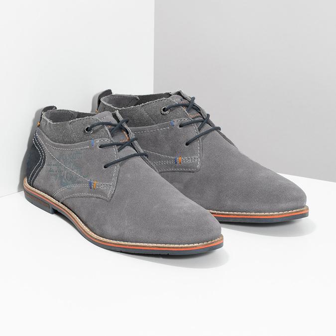 Chukka boots z broušené šedé kůže bugatti, šedá, 823-2015 - 26