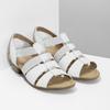 Bílé kožené sandály šíře G gabor, bílá, 666-1338 - 26