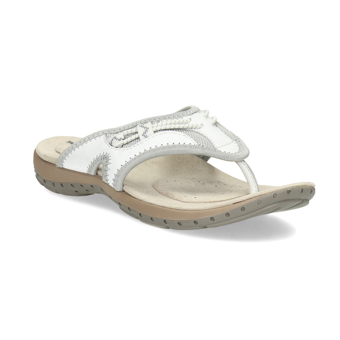Dámské bílé kožené žabky weinbrenner, bílá, 566-1611 - 13