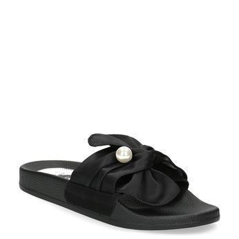 Černé saténové nazouváky s perličkami bata, černá, 569-6615 - 13
