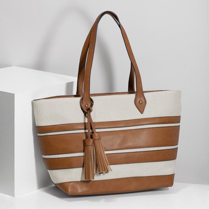 Dámská kabelka s hnědými pruhy bata, béžová, 969-8672 - 17