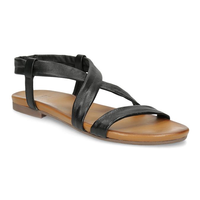 Černé kožené sandály dámské bata, černá, 566-6635 - 13