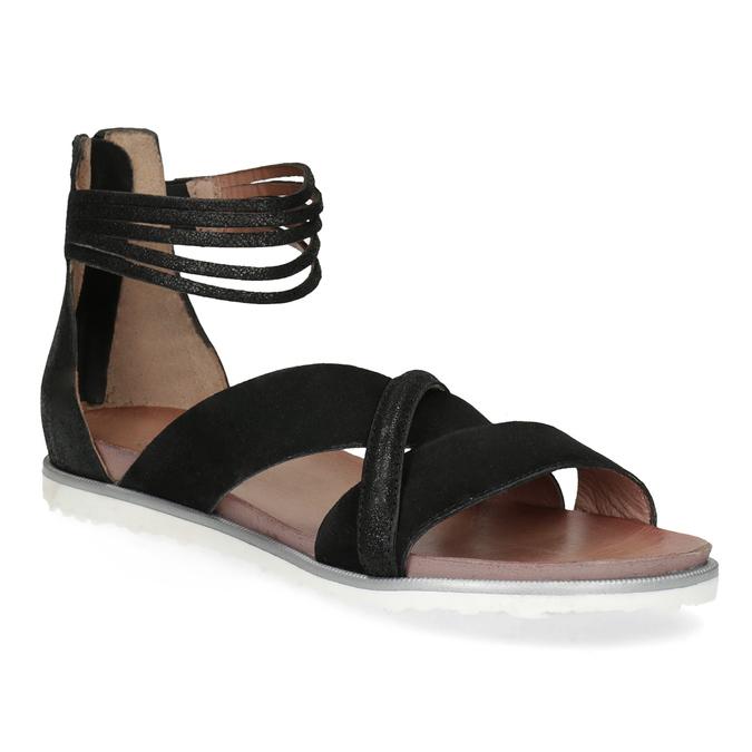 Kožené sandály s pásky kolem kotníku bata, černá, 566-6646 - 13
