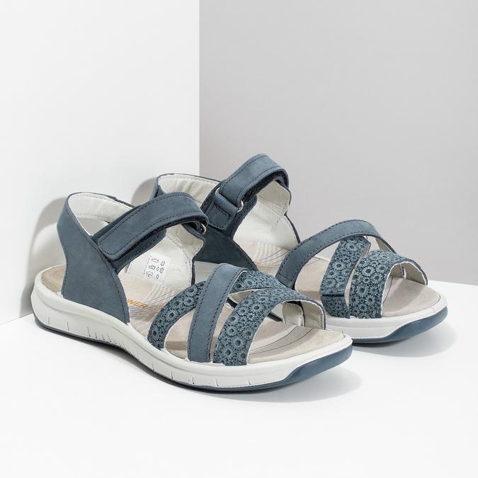 Kožené sandály v Outdoor stylu modré weinbrenner, modrá, 566-9634 - 26