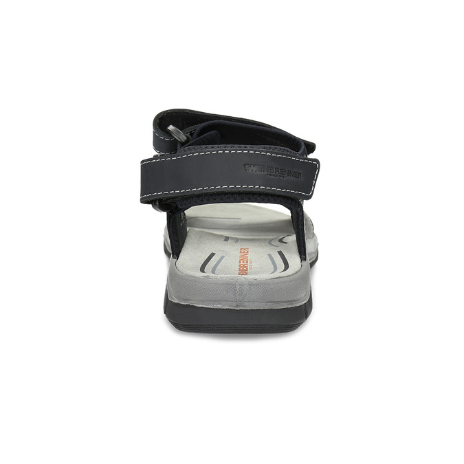 Pánské kožené sandály na suché zipy weinbrenner, šedá, 866-2642 - 15