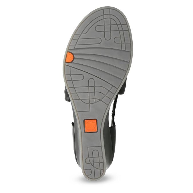 Černé kožené sandály na klínku flexible, černá, 664-6618 - 18