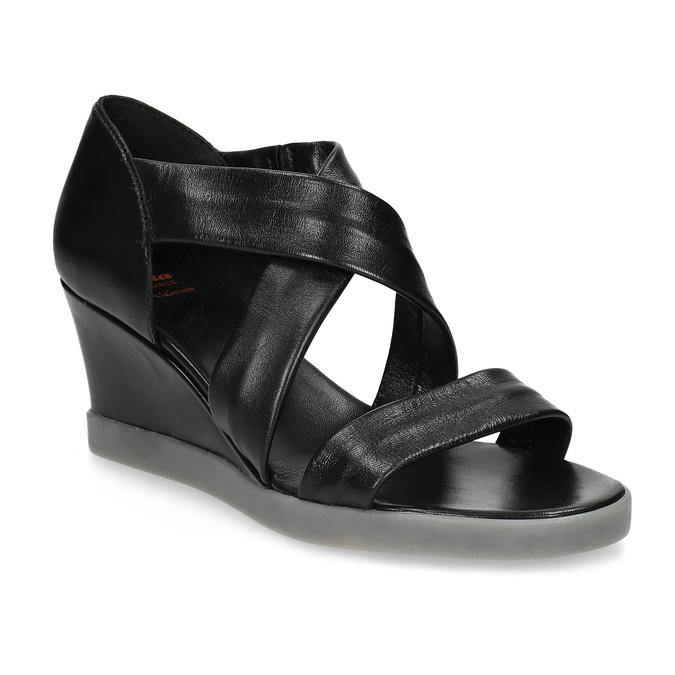 Černé kožené sandály na klínku flexible, černá, 664-6618 - 13