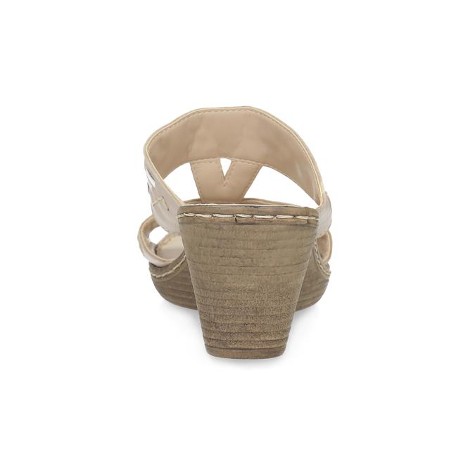 Kožené zdobené nazouváky na klínku comfit, béžová, 666-8623 - 15