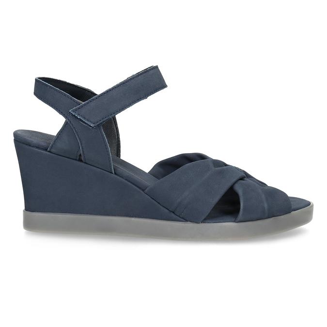 Modré kožené sandály na klínku flexible, modrá, 666-9617 - 19