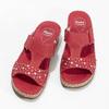 Červené kožené nazouváky na klínku s kamínky comfit, červená, 574-5438 - 16