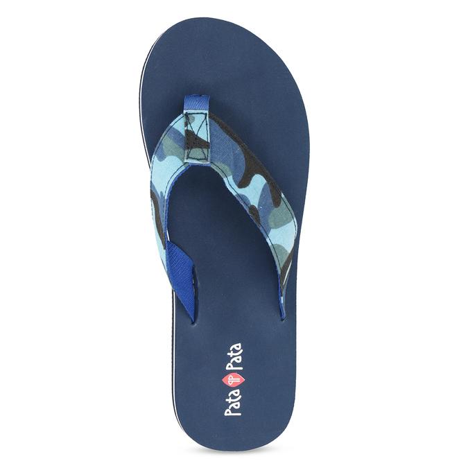 Pánské žabky s maskáčovým vzorem modré pata-pata, modrá, 879-9616 - 17