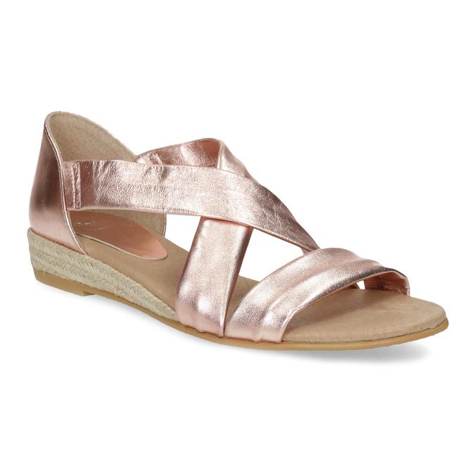 Dámské rose gold sandály na klínku bata, zlatá, 566-5649 - 13