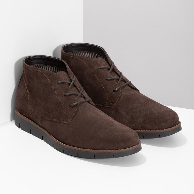 Pánská kotníčková kožená obuv hnědá flexible, hnědá, 823-4632 - 26