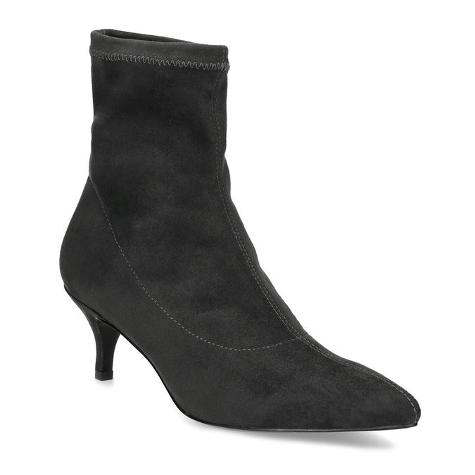 Šedé ponožkové kozačky na Kitten podpatku bata, šedá, 699-2643 - 13