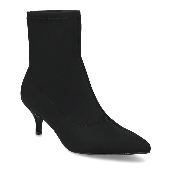 Černá kotníková obuv na kitten heel bata, černá, 699-6643 - 13