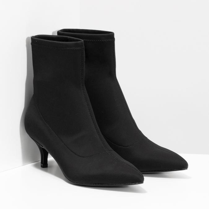 Černá kotníková obuv na kitten heel bata, černá, 699-6643 - 26