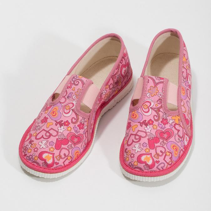 Růžové dívčí přezůvky se vzorem bata, růžová, 179-5213 - 16