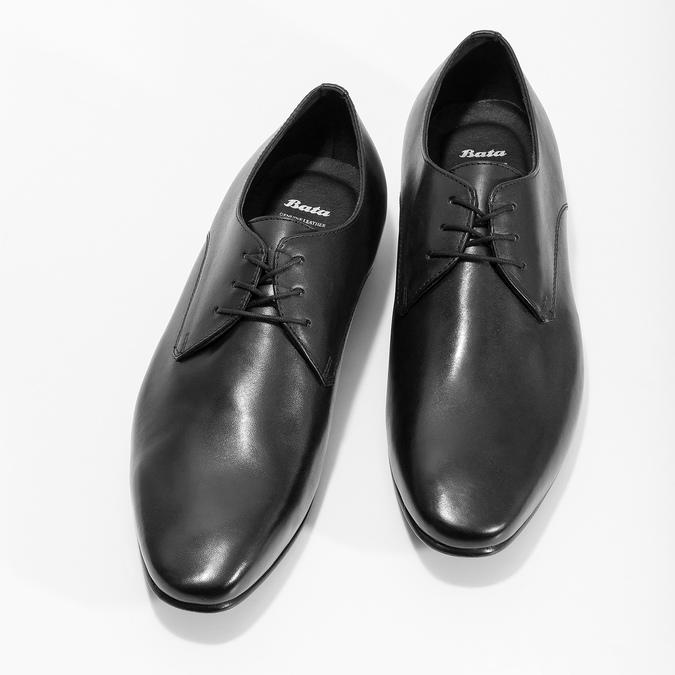 Černé kožené polobotky v Derby střihu bata, černá, 824-6606 - 16