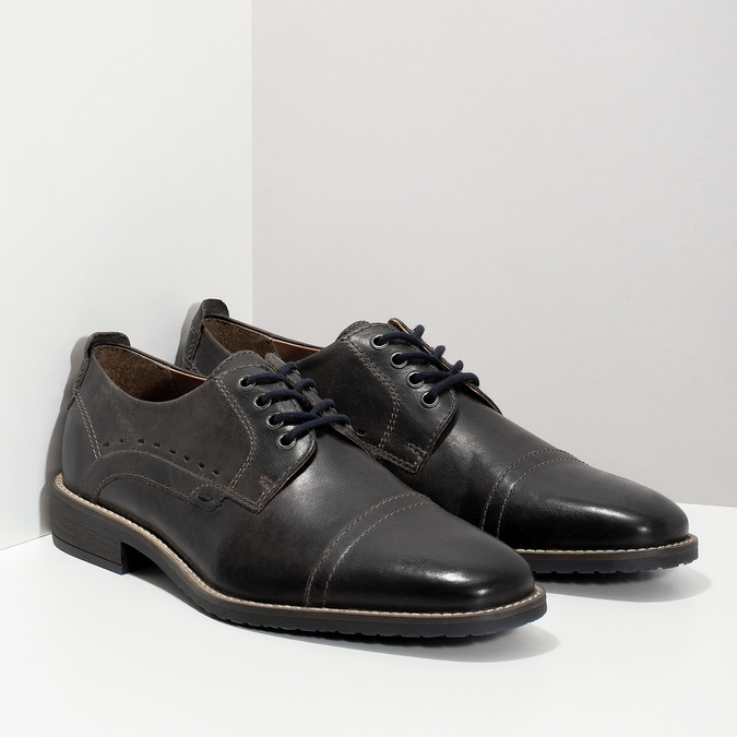 Pánské kožené Derby polobotky bata, černá, 826-2866 - 26