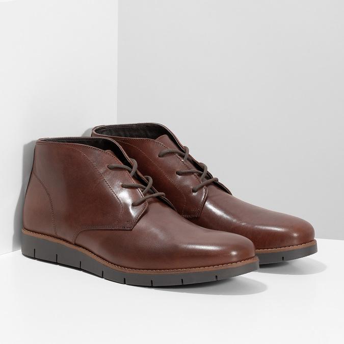 Pánské kožené hnědé Chukka Boots flexible, hnědá, 826-4972 - 26