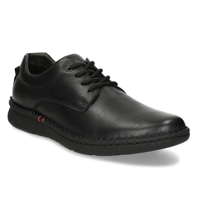 Pánské černé kožené ležérní polobotky bata, černá, 824-6630 - 13