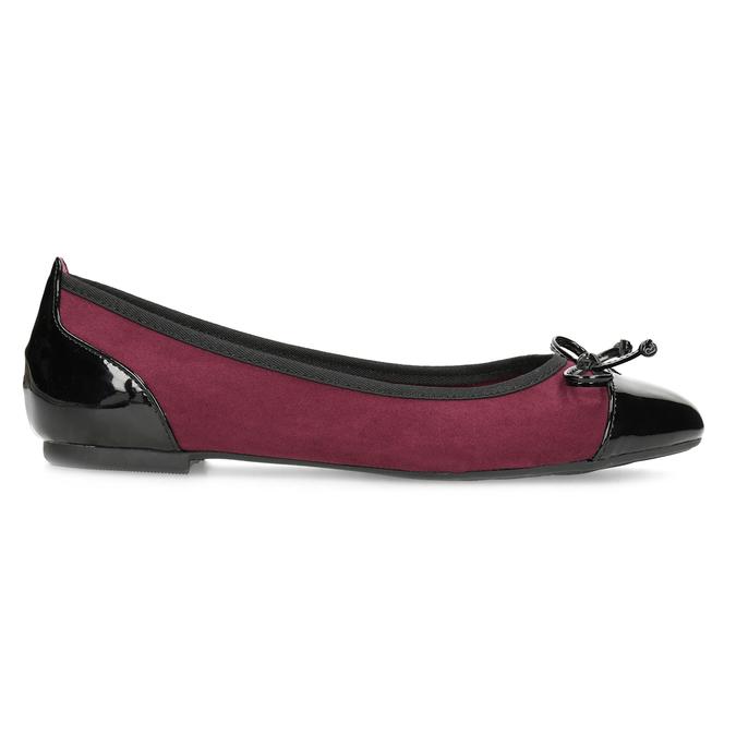 Vínové baleríny s lakovanou špicí a patou bata, červená, 529-5640 - 19