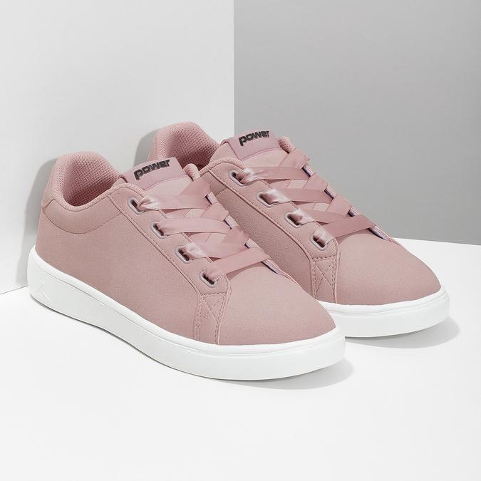 Růžové dámské tenisky se saténovými tkaničkami power, růžová, 501-5169 - 26