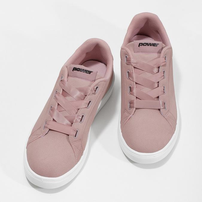 Růžové dámské tenisky se saténovými tkaničkami power, růžová, 501-5169 - 16