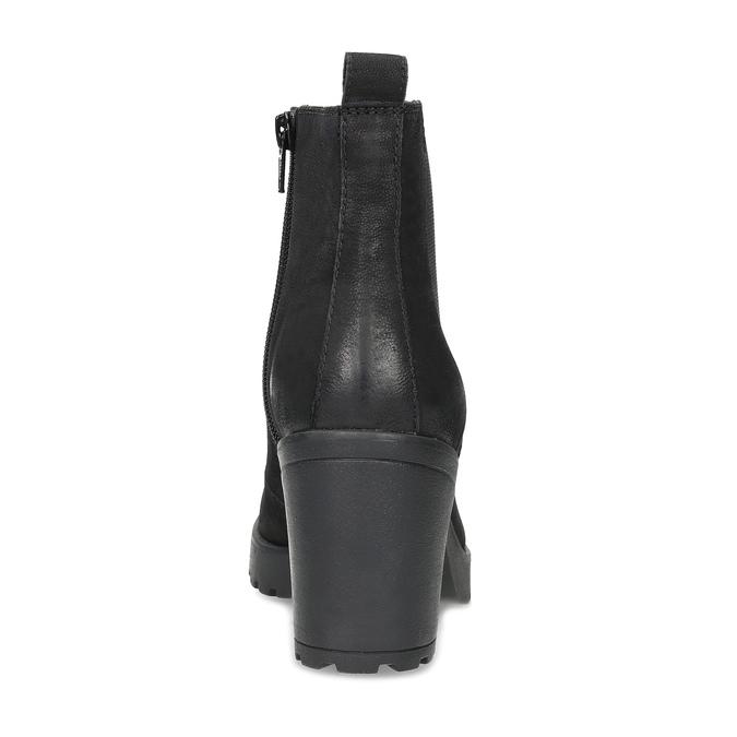 Kotníčkové kožené kozačky na stabilním podpatku vagabond, černá, 716-6101 - 15