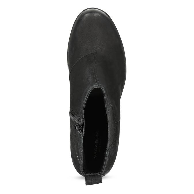 Kotníčkové kožené kozačky na stabilním podpatku vagabond, černá, 716-6101 - 17