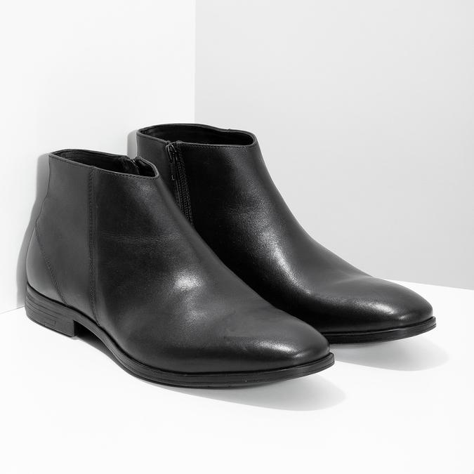 Kožená kotníčková obuv elegantní bata, černá, 824-6634 - 26