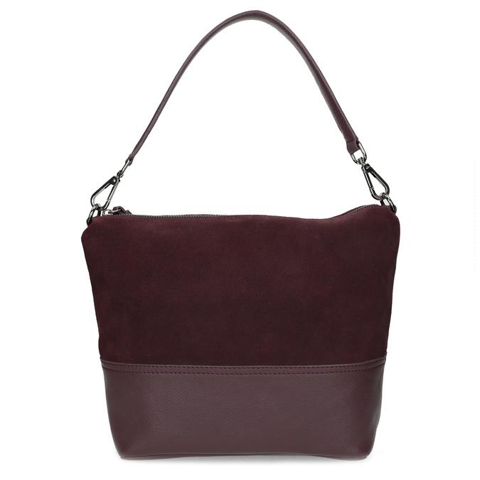 Vínová kožená Hobo kabelka s popruhem bata, červená, 963-5600 - 26