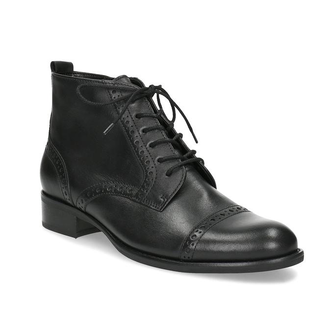 Kotníčková dámská obuv s Brogue zdobením gabor, černá, 624-6031 - 13