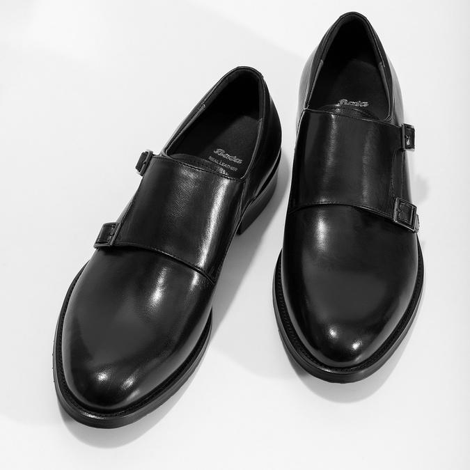 Pánské kožené Monk shoes černé bata, černá, 824-6632 - 16