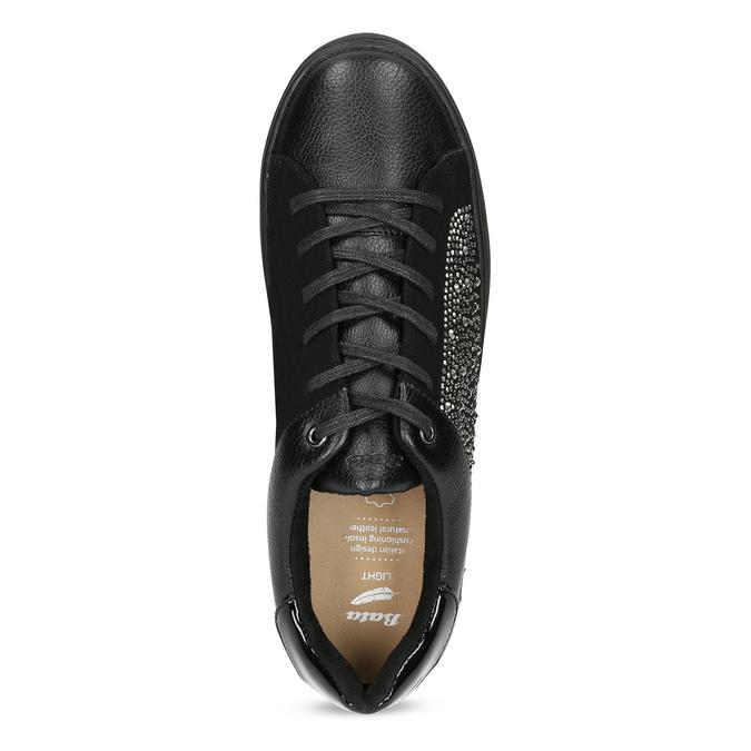 Černé dámské tenisky s kamínky bata-light, černá, 549-6611 - 17