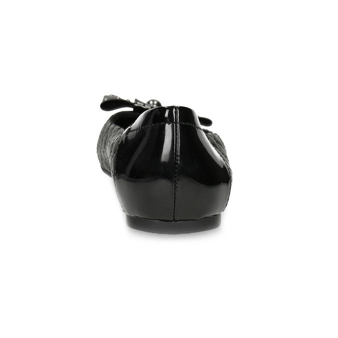 Černé kožené baleríny s mašlí a prošíváním bata, černá, 524-6667 - 15