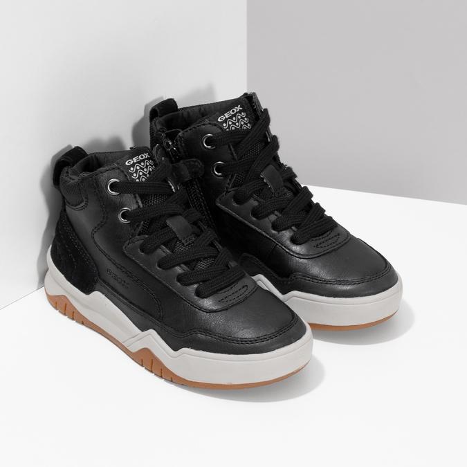 Kožená kotníčková obuv chlapecká geox, černá, 326-6007 - 26