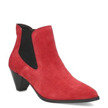 Kotníčková obuv na zkoseném podpatku bata, červená, 696-5661 - 13