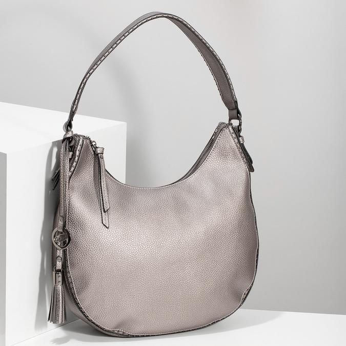 Stříbrná kabelka s ramenním popruhem gabor-bags, bronzová, 961-1044 - 17
