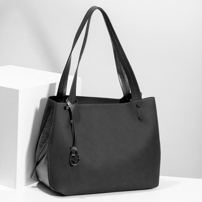 Černá kabelka s metalickými detaily gabor-bags, černá, 961-6069 - 17