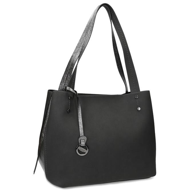 Černá kabelka s metalickými detaily gabor-bags, černá, 961-6069 - 13