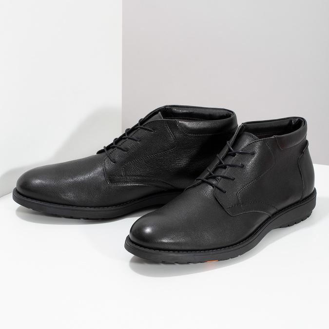 Kotníčková kožená pánská obuv černá flexible, černá, 894-6704 - 16