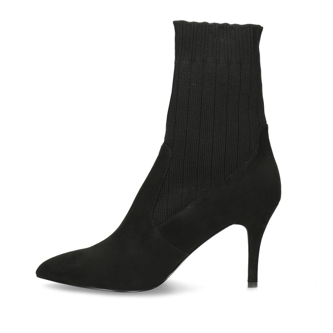 Černé ponožkové kozačky na jehlovém podpatku bata, černá, 799-6640 - 17